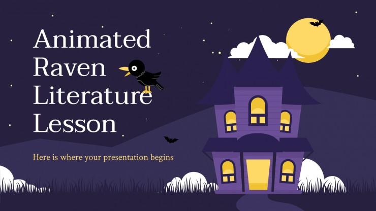 Animated Raven Literature Lesson presentation template
