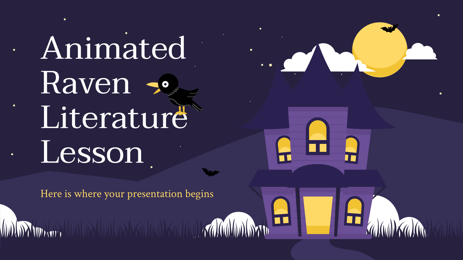 Animated Raven Literature Lesson presentation template