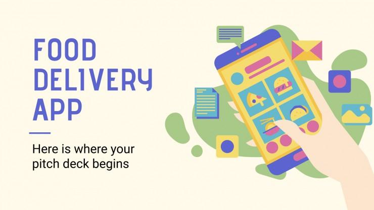 Plantilla de presentación App de comida a domicilio