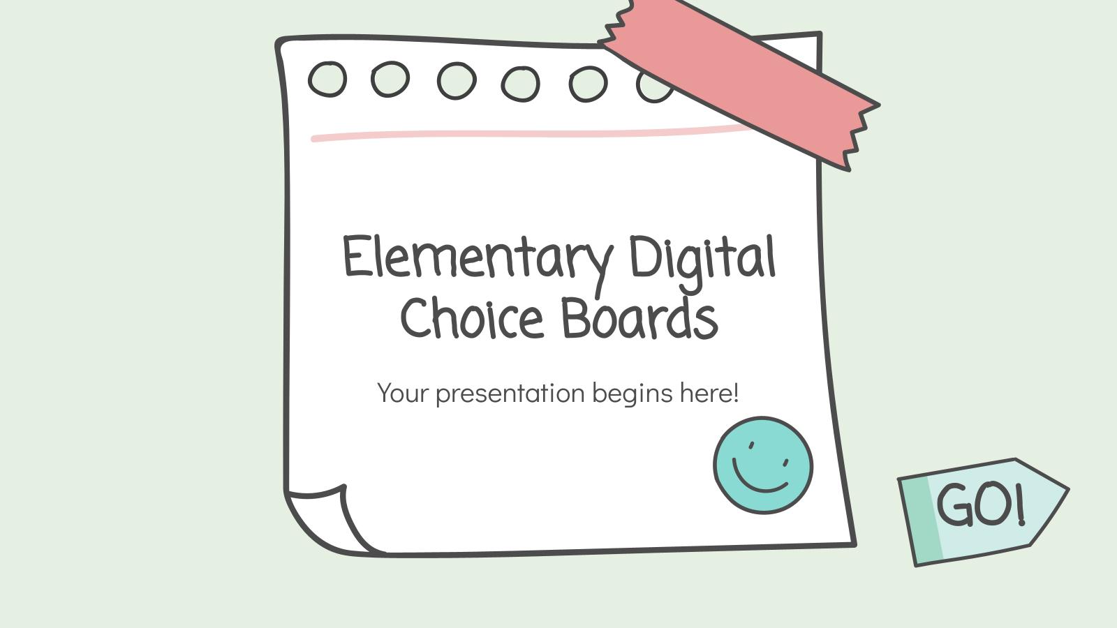 Elementary Digital Choice Boards presentation template