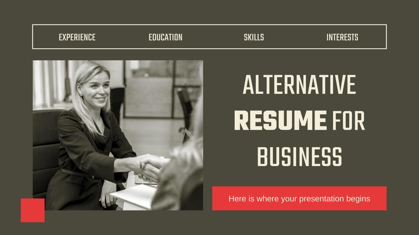 Plantilla de presentación CV alternativo para negocios