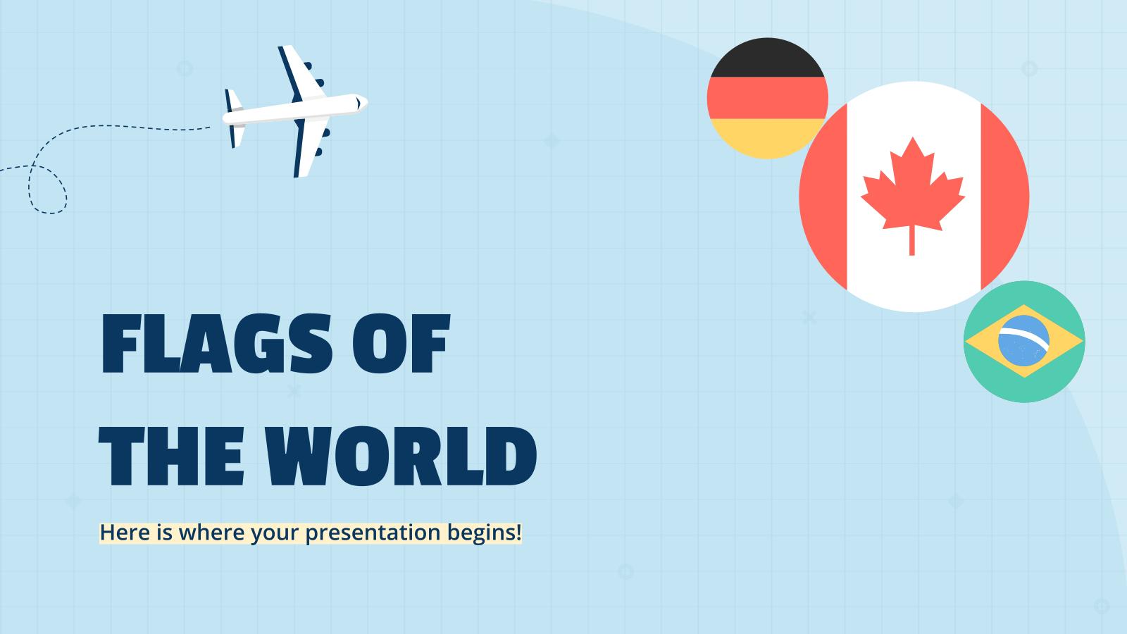 Modelo de apresentação Bandeiras do mundo