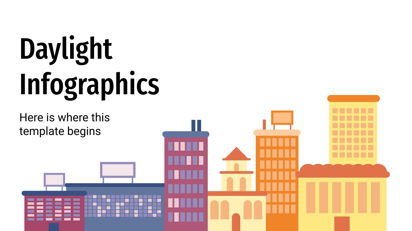 Plantilla de presentación Infografías sobre las horas de luz