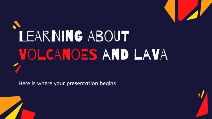 Plantilla de presentación Aprendiendo sobre volcanes y lava