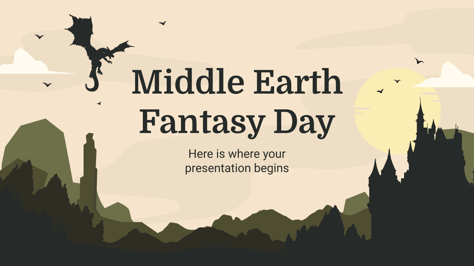 Middle Earth Fantasy Day presentation template