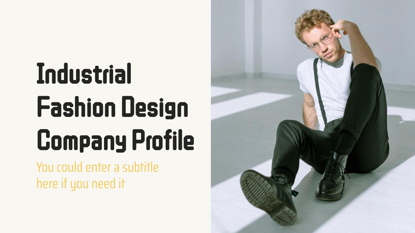 Industrial Fashion Design Company Profile presentation template
