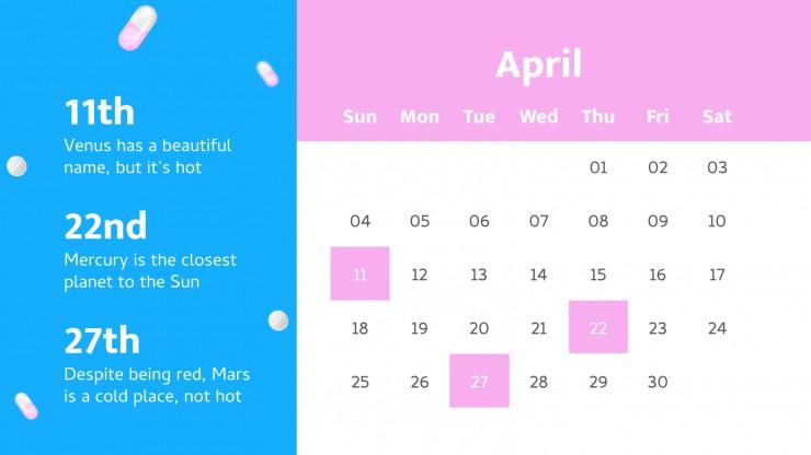 Plantilla de presentación Calendario de pastillas diarias