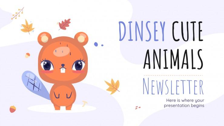 Plantilla de presentación Newsletter de bonitos animales Dinsey