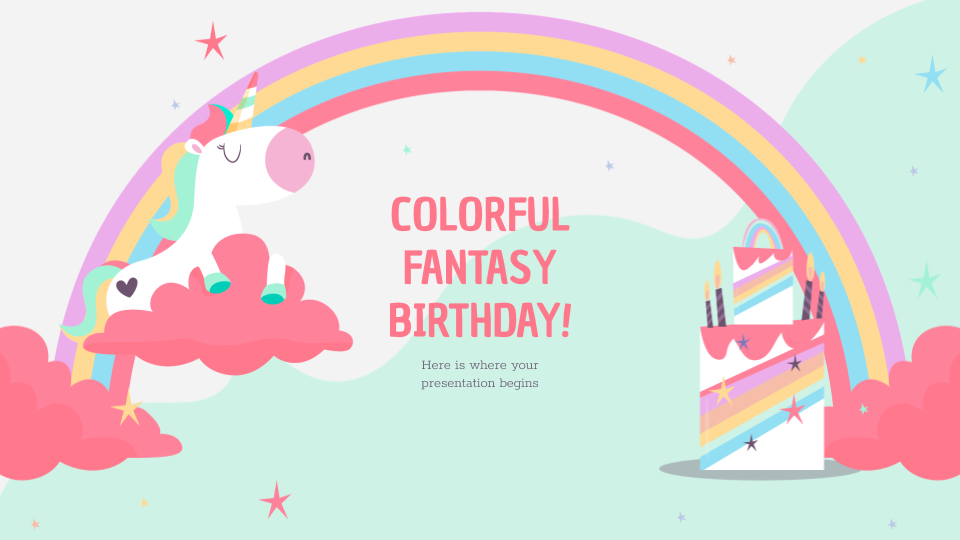 Colorful Fantasy Birthday presentation template