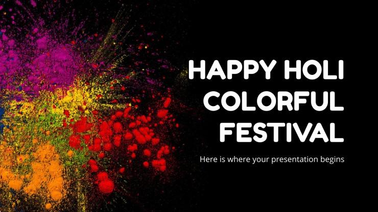 Plantilla de presentación Feliz festival Holi colorido