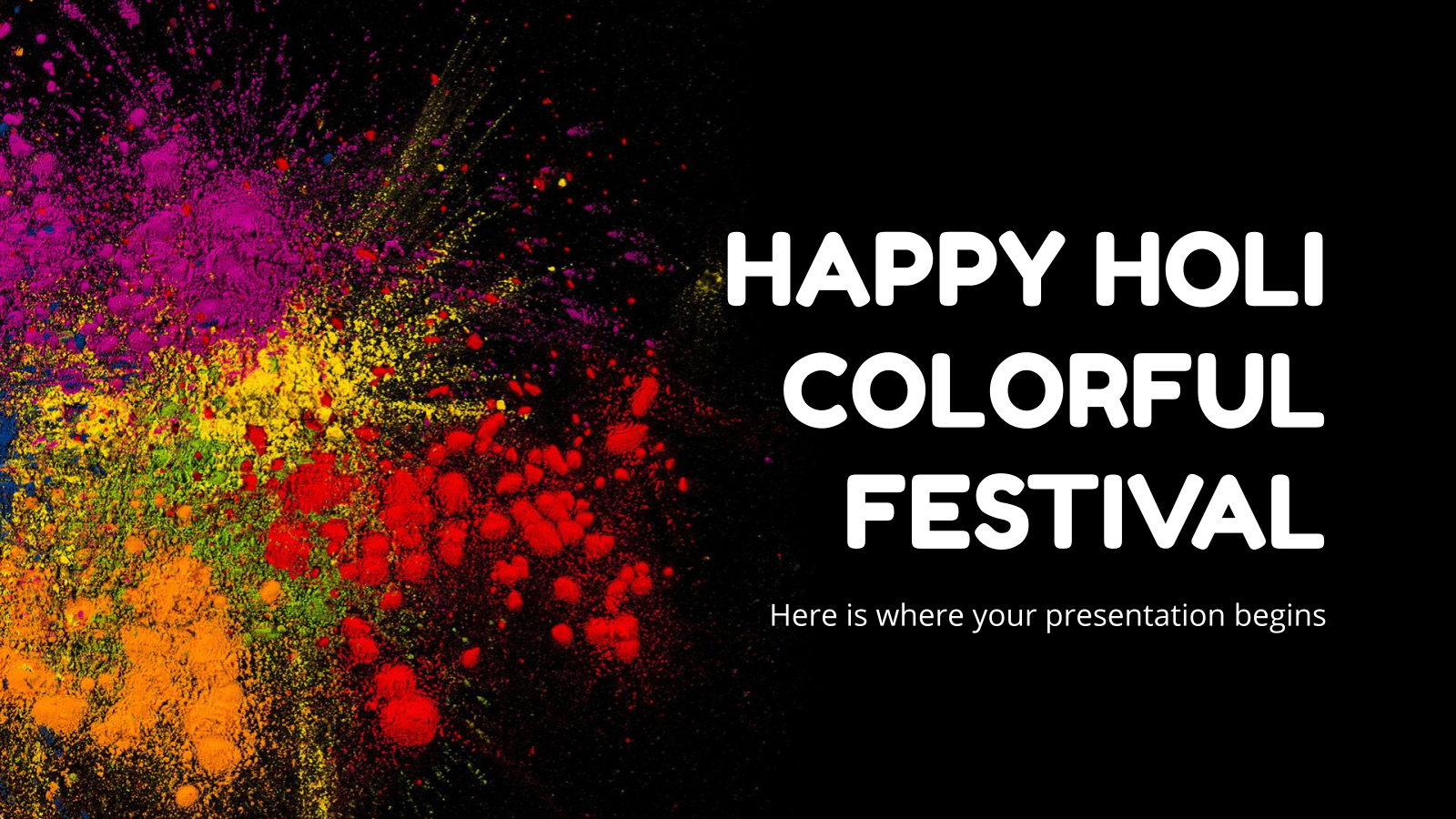 Happy Holi Colorful Festival presentation template