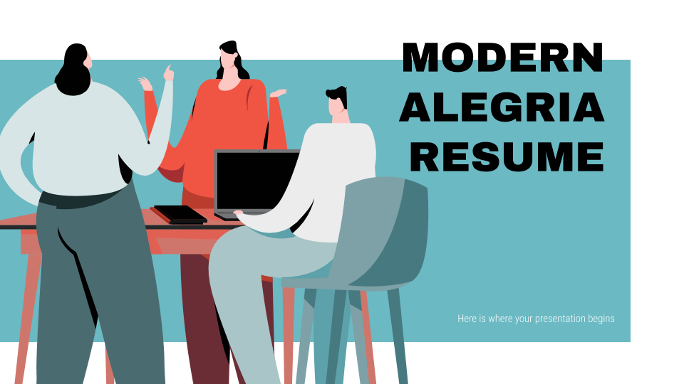 Modelo de apresentação Currículo moderno estilo Alegria