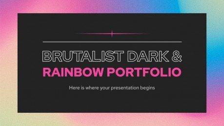 Portfolio impactant foncé et arc-en-ciel : Modèles de présentation