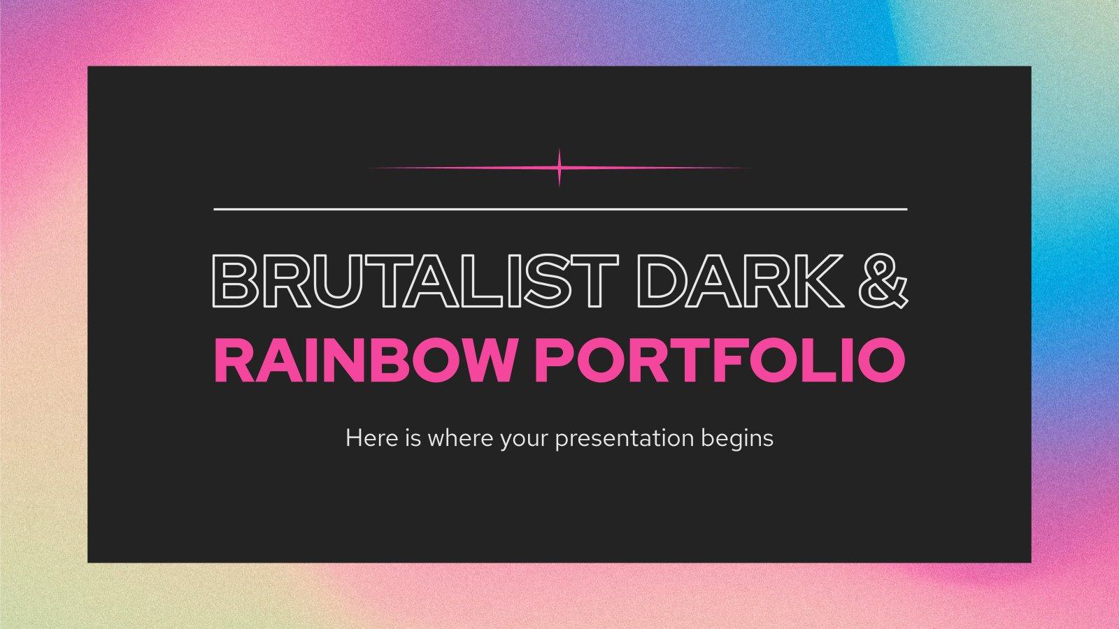 Modelo de apresentação Portfólio brutalista escuro e arco-íris