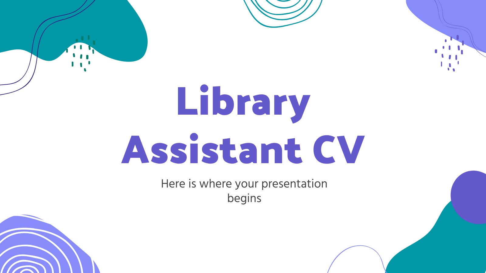 Library Assistant CV presentation template