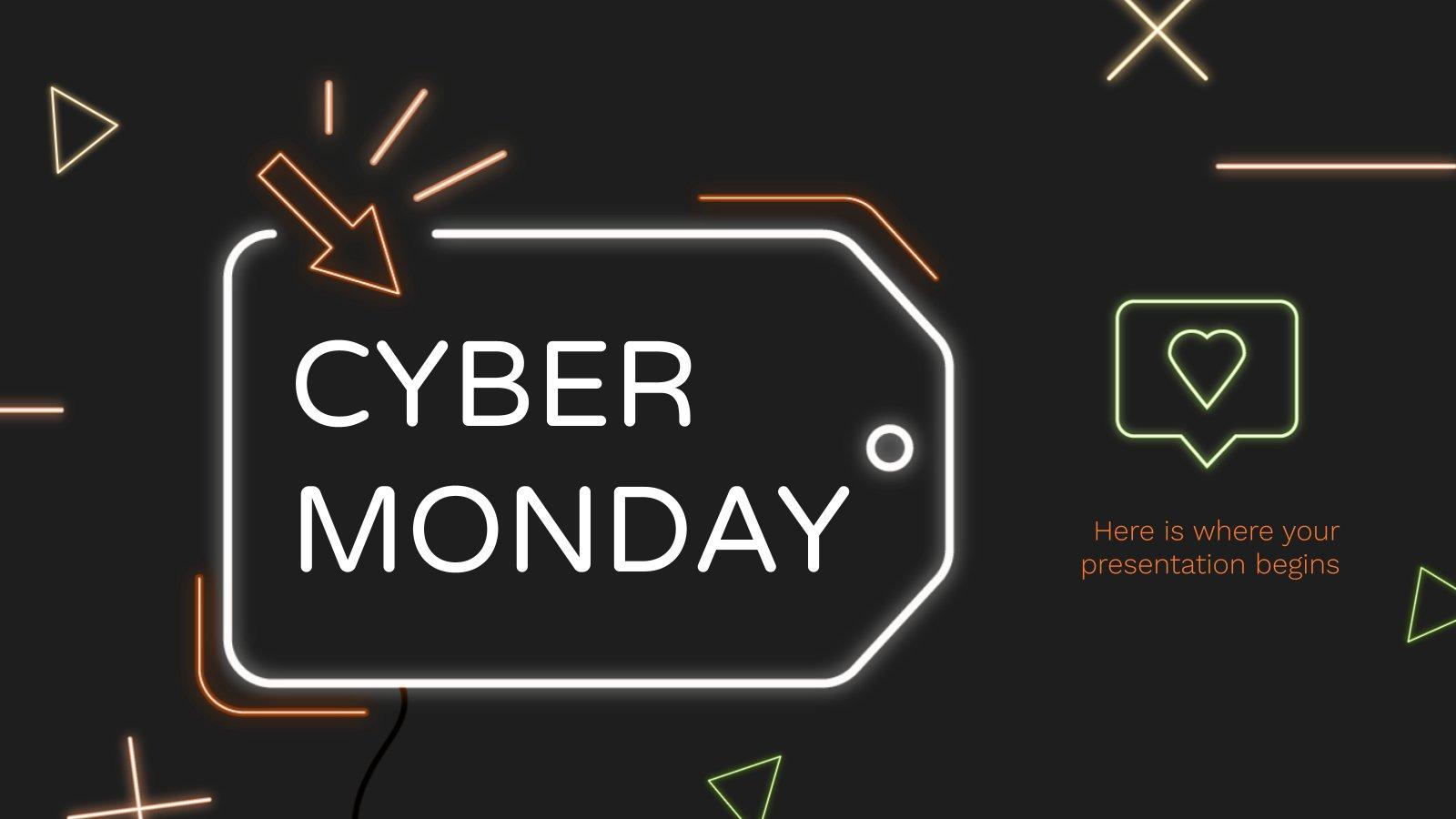 Neon Cyber Monday presentation template