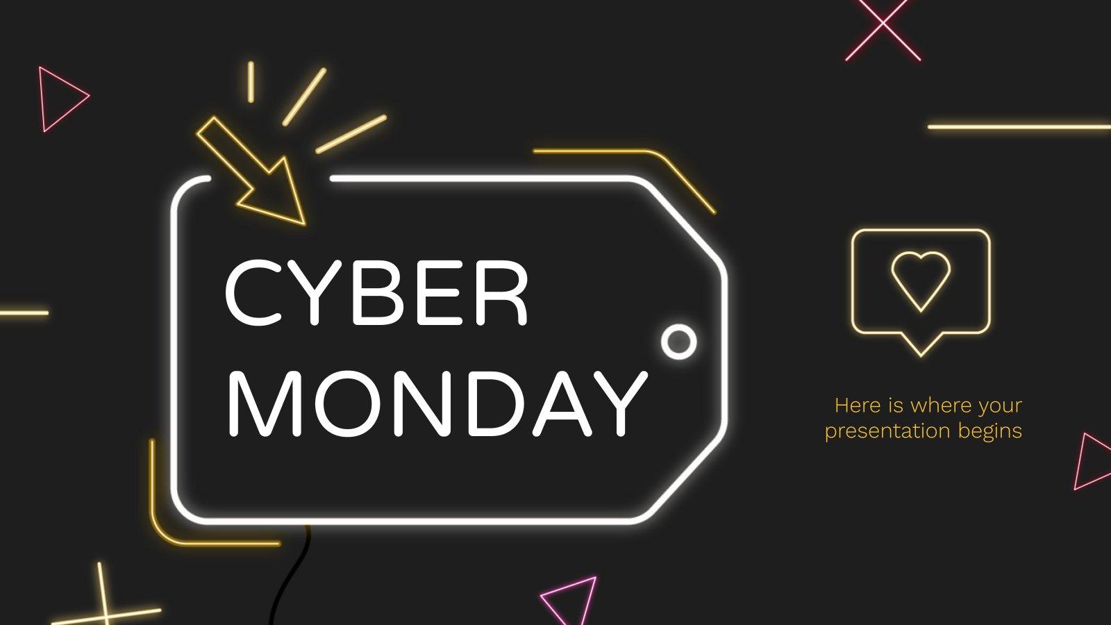 Modelo de apresentação Cyber Monday de neon