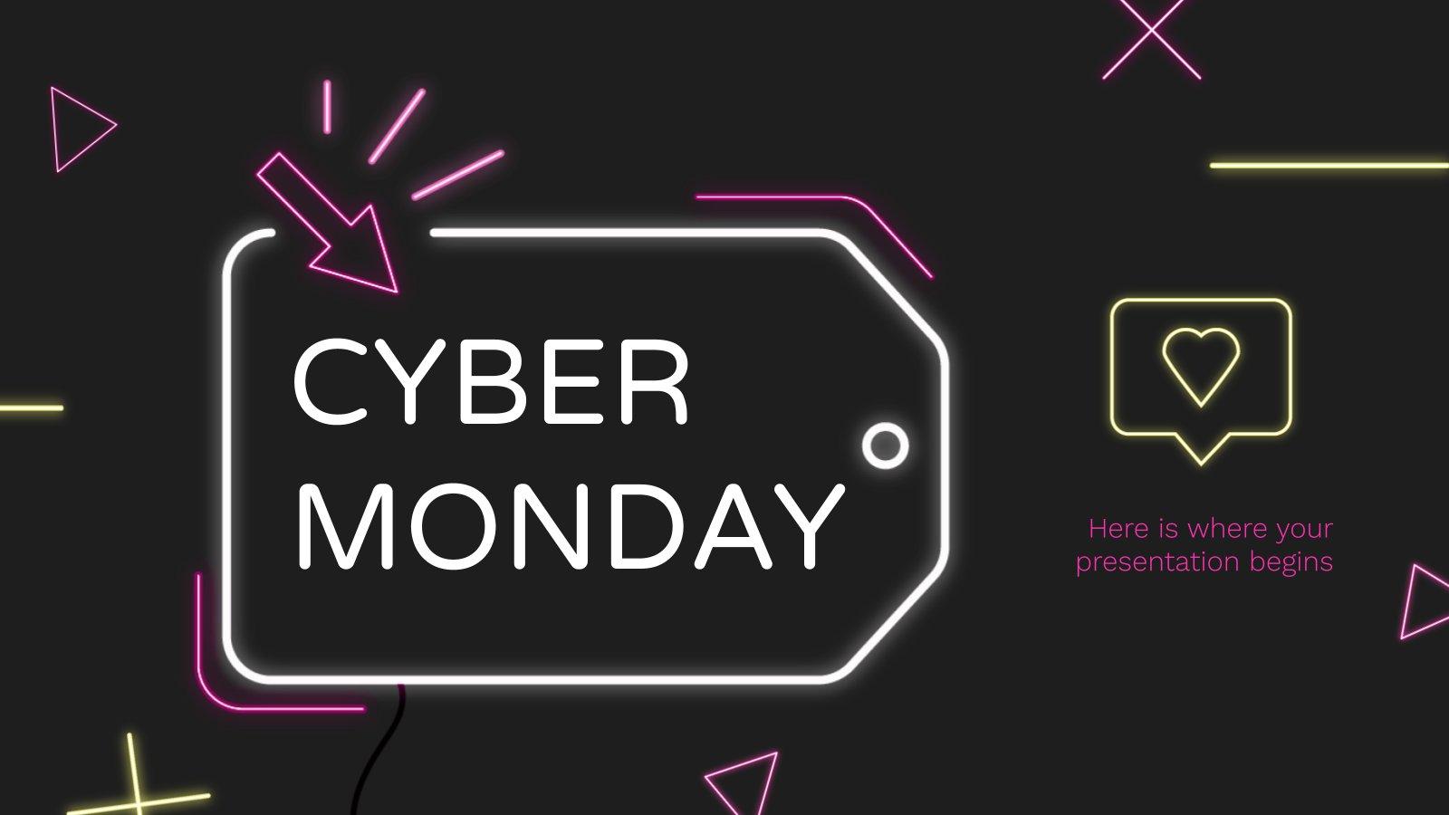 Plantilla de presentación Cyber Monday con efecto neón