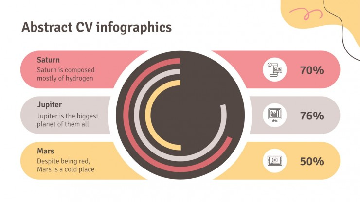 Modelo de apresentação Infográficos de CV abstrato