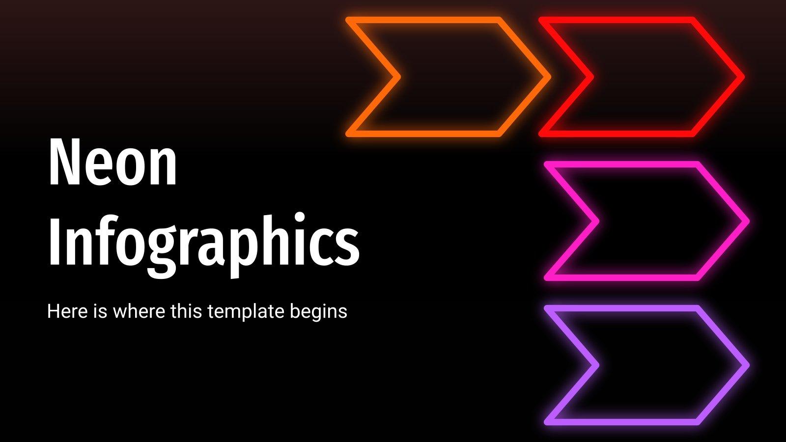 Plantilla de presentación Infografías con efecto neón