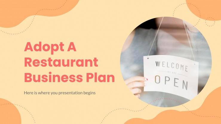 Plantilla de presentación Plan de negocios adopta un restaurante