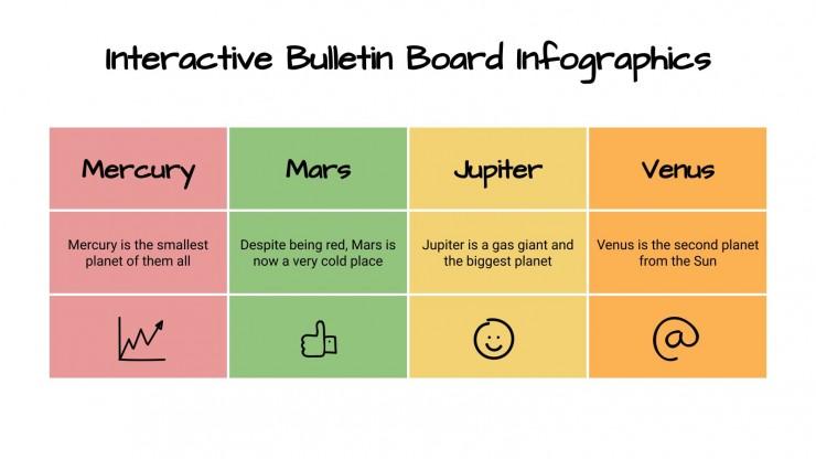Plantilla de presentación Infografías de tablón de corcho interactivo