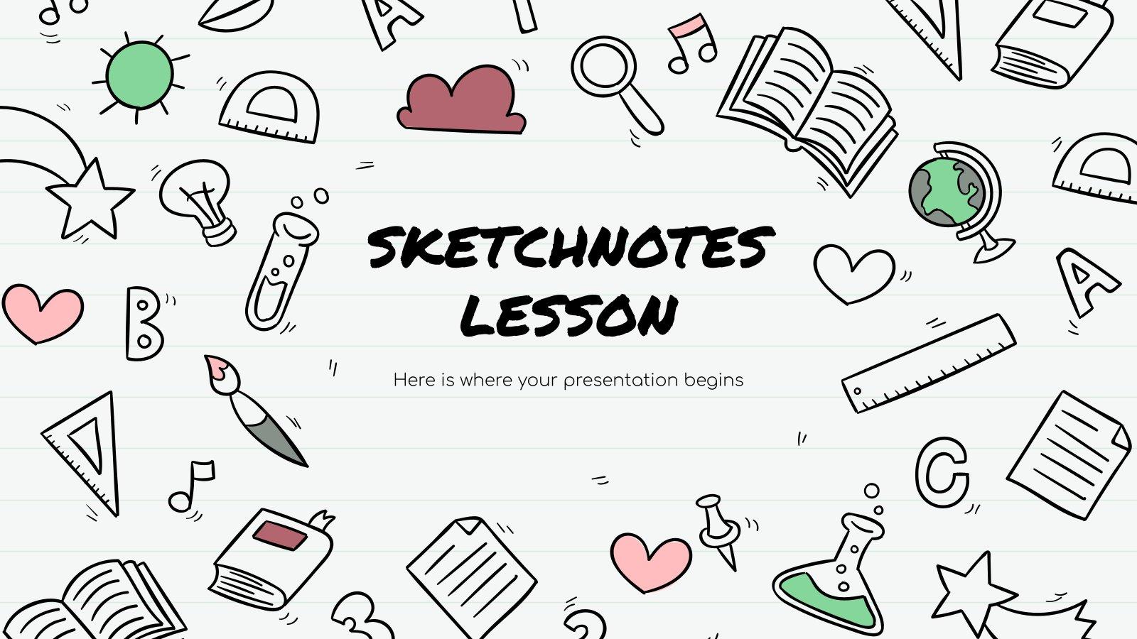 Modelo de apresentação Lição com notas visuais