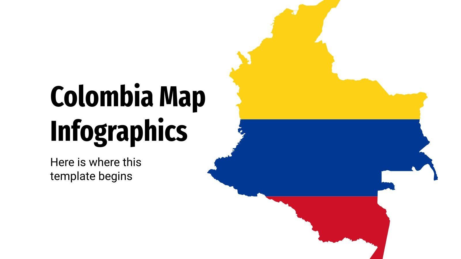 Modelo de apresentação Infográficos com mapas da Colômbia