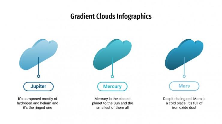 Plantilla de presentación Infografías de nubes con degradados