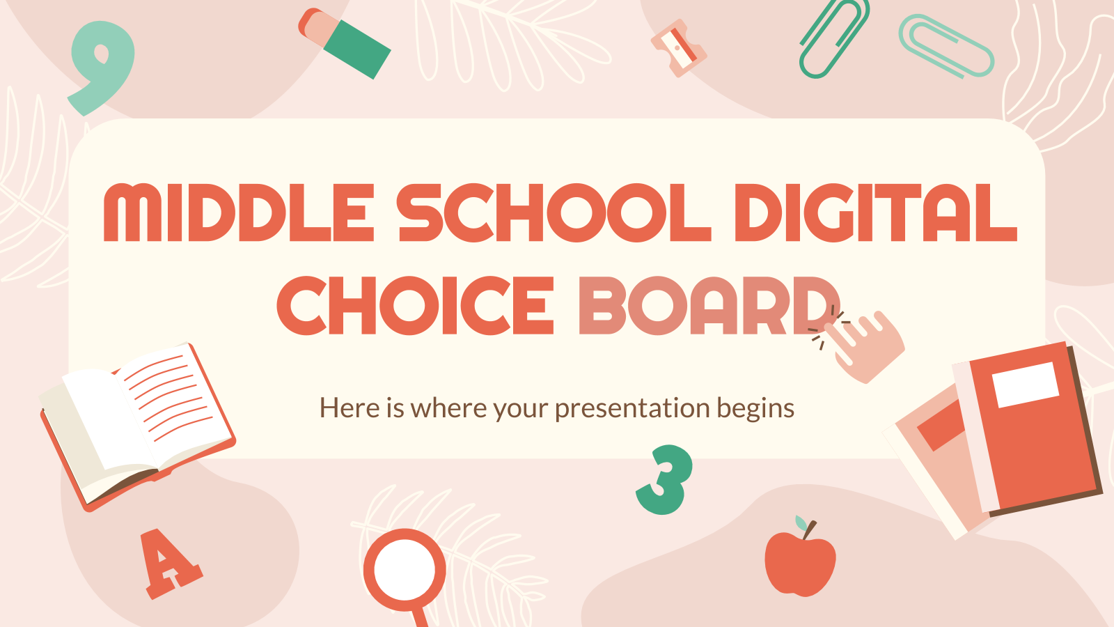 Middle School Digital Choice Board presentation template