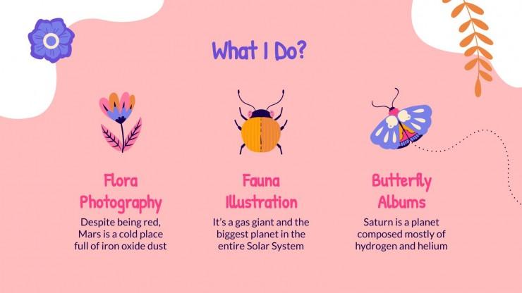 Plantilla de presentación Portafolio con mariposas