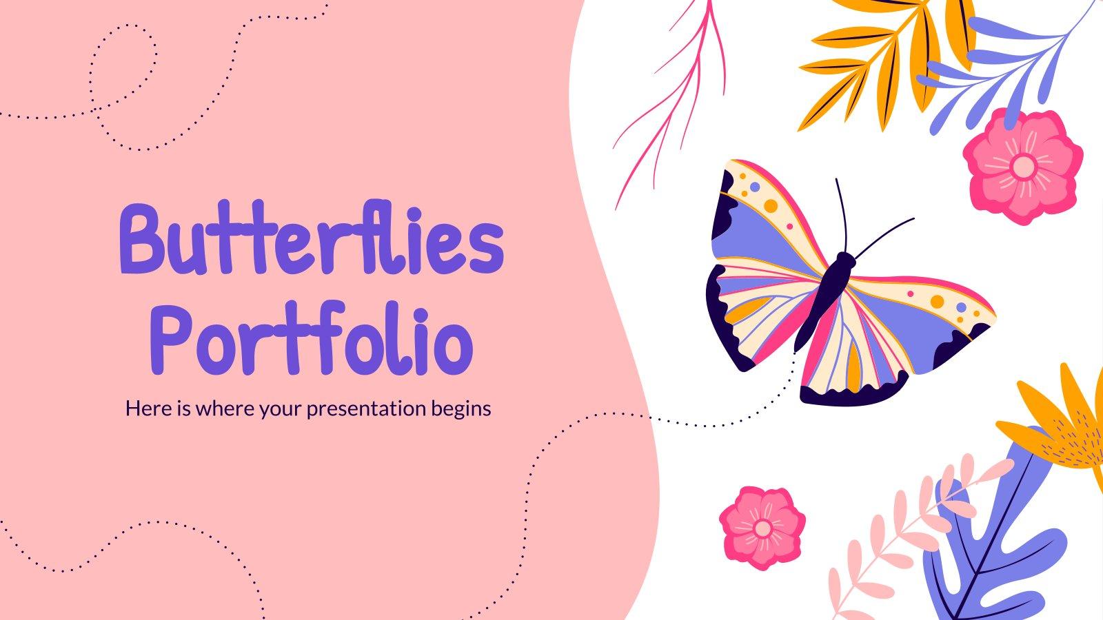 Modelo de apresentação Portfólio de borboletas