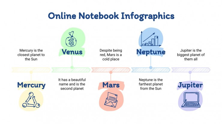 Online Notebook Infographics presentation template