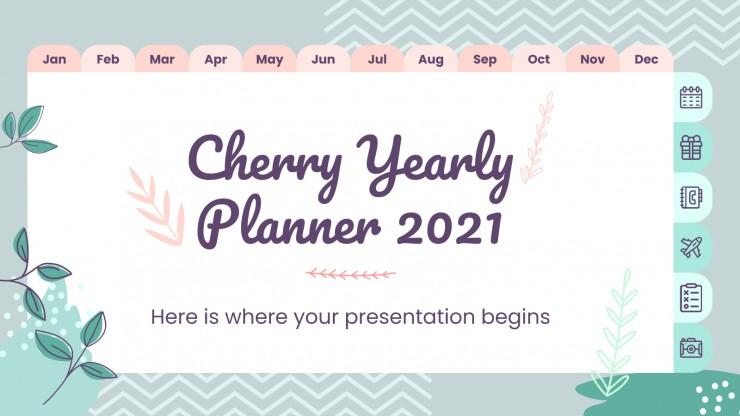 Modelo de apresentação Agenda de 2021 com cereja