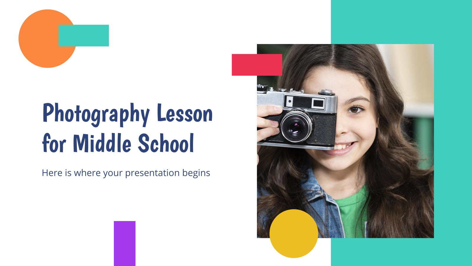 Photography Lesson for Middle School presentation template