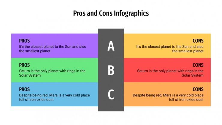 Plantilla de presentación Infografías de pros y contras