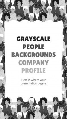 Plantilla de presentación Perfil de empresa con fondos grises de personas