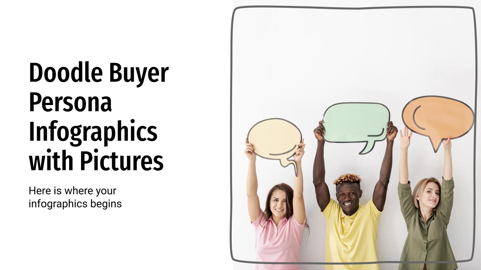 Doodle Buyer Persona Infografiken mit Bildern Präsentationsvorlage