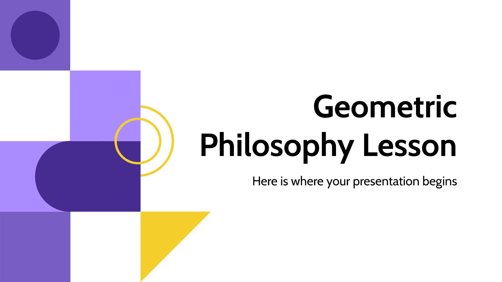 Cours de philosophie géométrique : Modèles de présentation