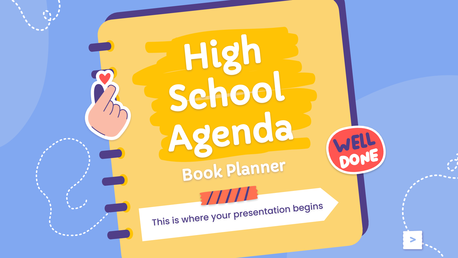 High school Agenda - Book Planner presentation template