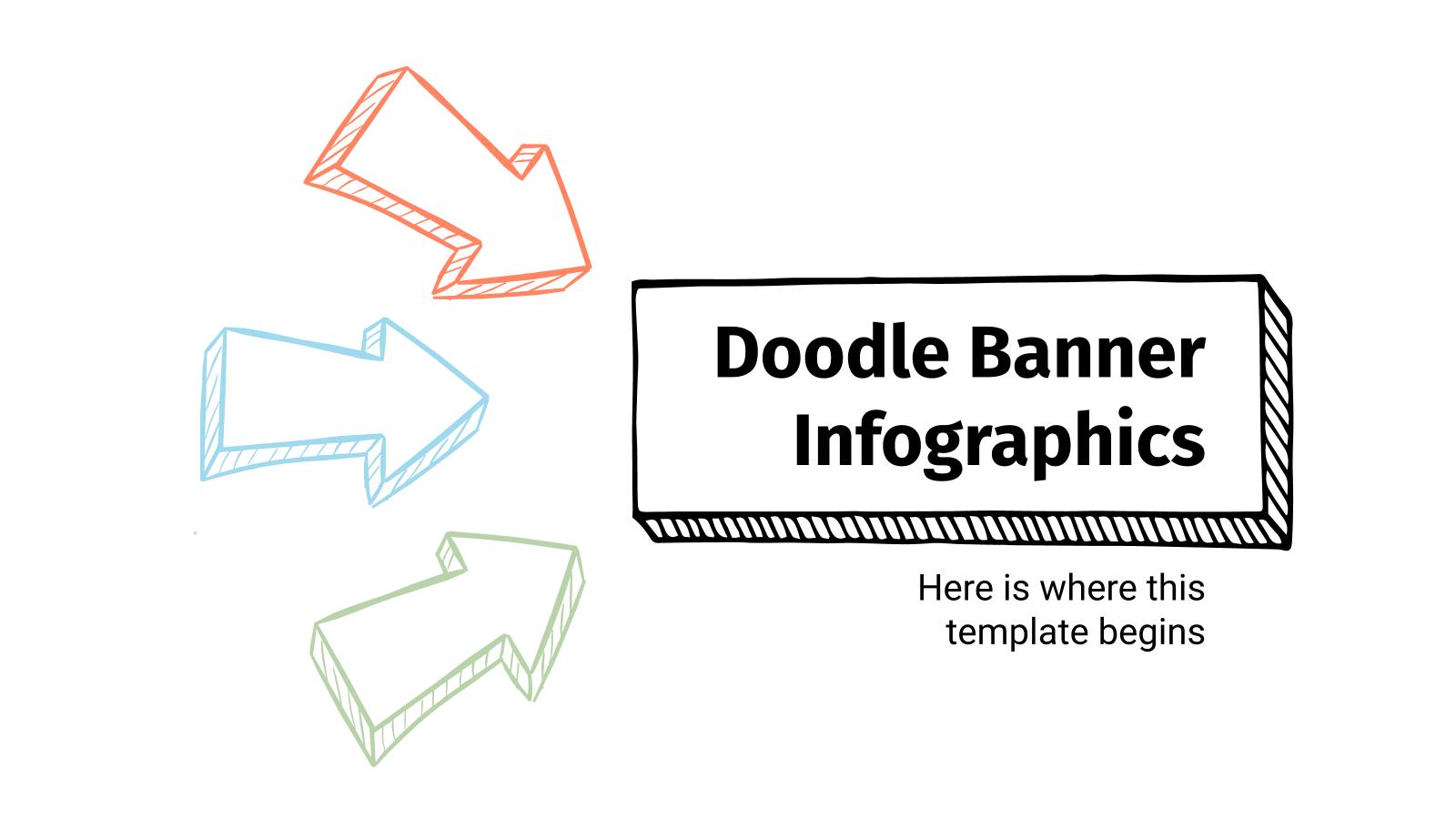 Plantilla de presentación Doodle Banner Infografiken