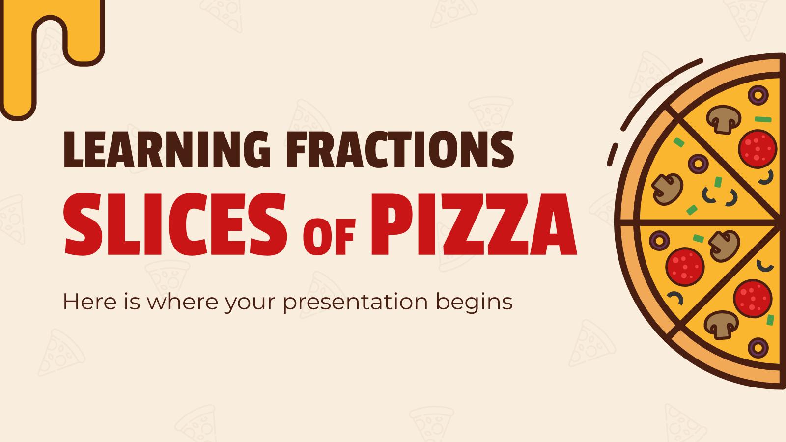 Apprentissage des fractions : parts de pizza : Modèles de présentation