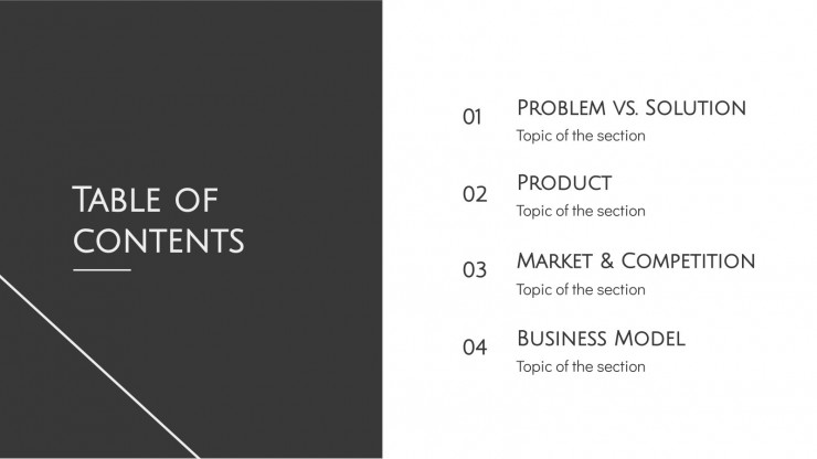 Minimalist Grayscale Pitch Deck presentation template