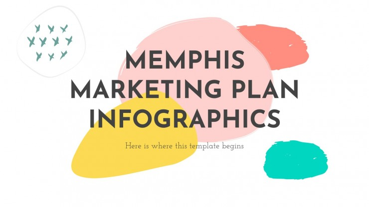 Infográficos do plano de marketing estilo Memphis
