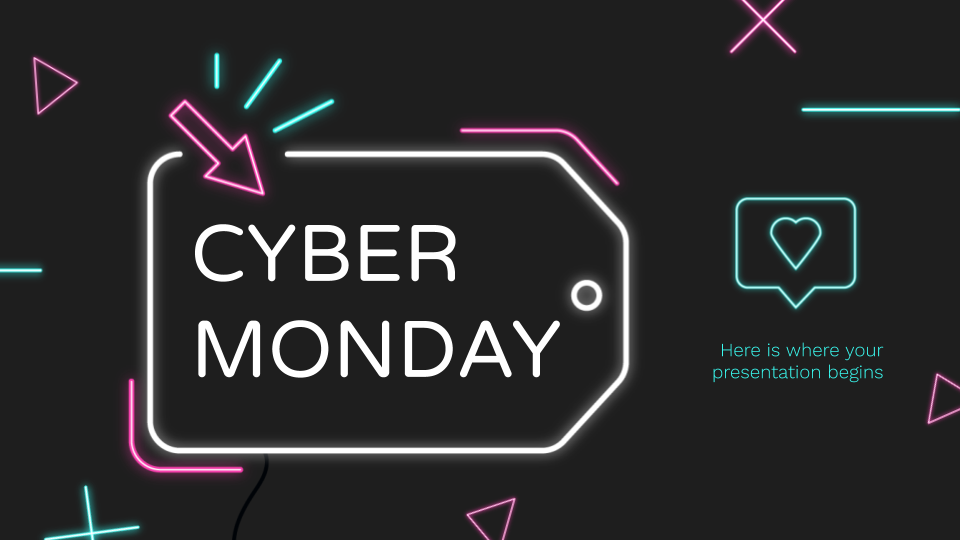 Neon Cyber Monday presentation template