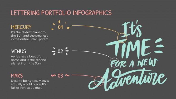 Plantilla de presentación Infografías portafolio de lettering