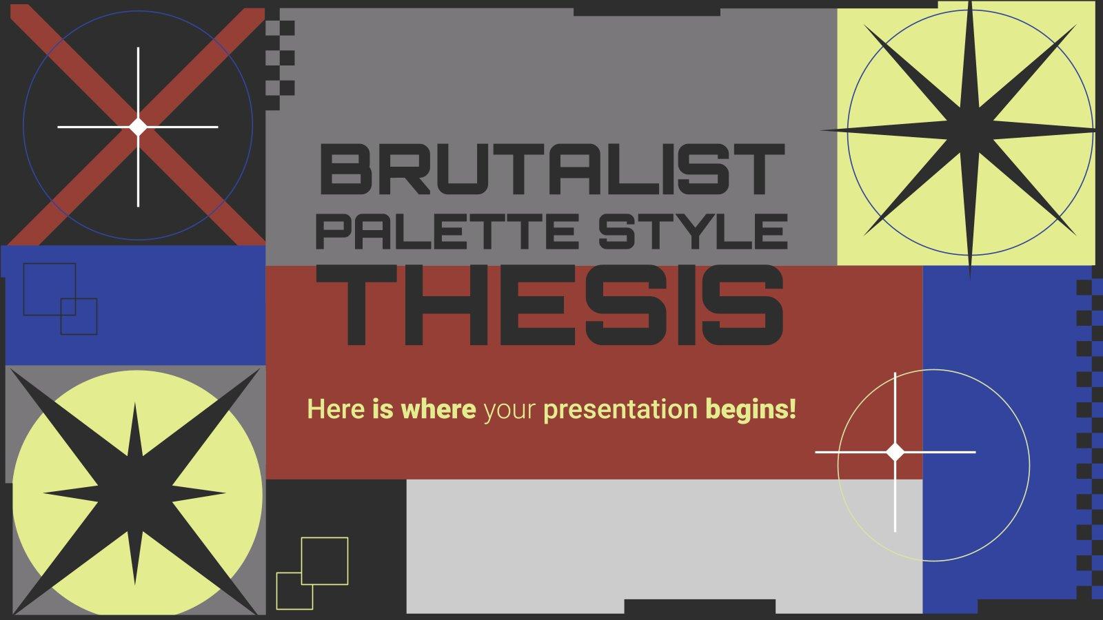 Modelo de apresentação Tese de paleta de estilo brutalista