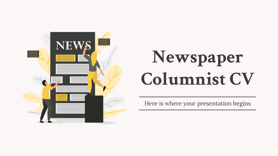 Newspaper Columnist CV presentation template