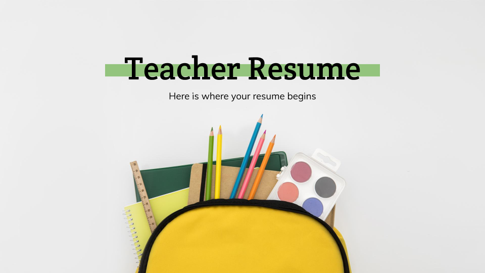 Teacher Resume presentation template