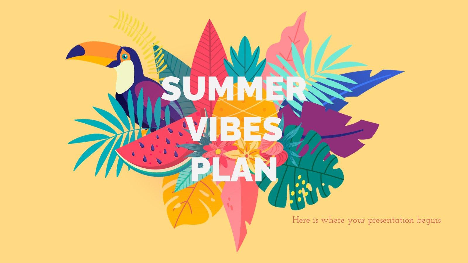 Modelo de apresentação Plano de marketing vibes de verão